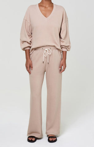 Citizens of Humanity Nia Wide Leg Lounge Pant in Nougat