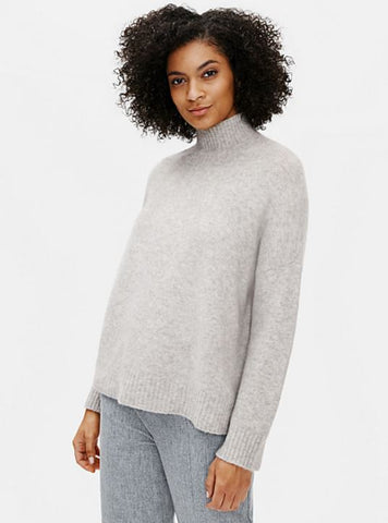 Eileen Fisher Turtleneck Box-Top in Pearl