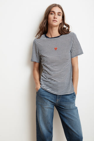 Velvet Zuni03-S219 Cotton Knit Stripe Heart Tee