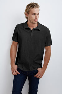 Velvet Mens  Slub Polo Randall01 Black