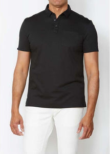 John Varvatos BURLINGTON INTERLOCK POLO Black