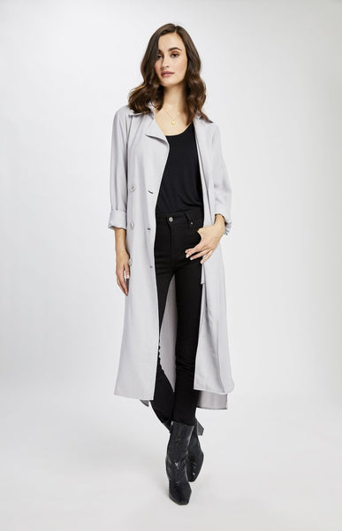 Gentle Fawn Strauss Long Trench in Pearl Grey