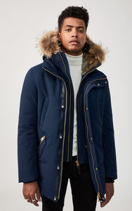 Mackage Men's  EDWARD-R Navy hip length down winter parka with fur