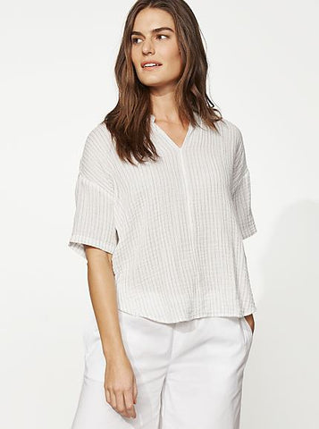 Eileen Fisher Striped Organic Cotton Gauze Stand Collar Top