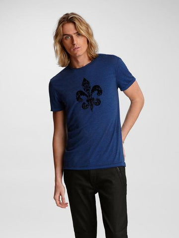 John Varvatos FLEUR DE LIS Graphic Tee - Royal Blue