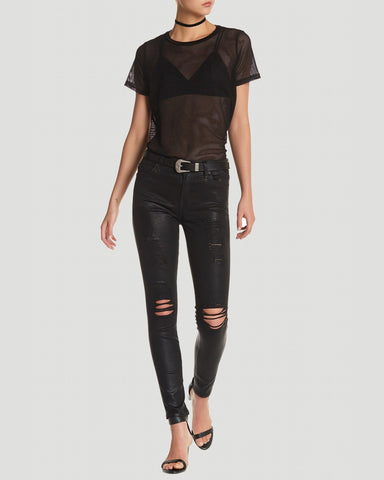 7 For All Mankind Ankle Skinny Coated w/Destroy