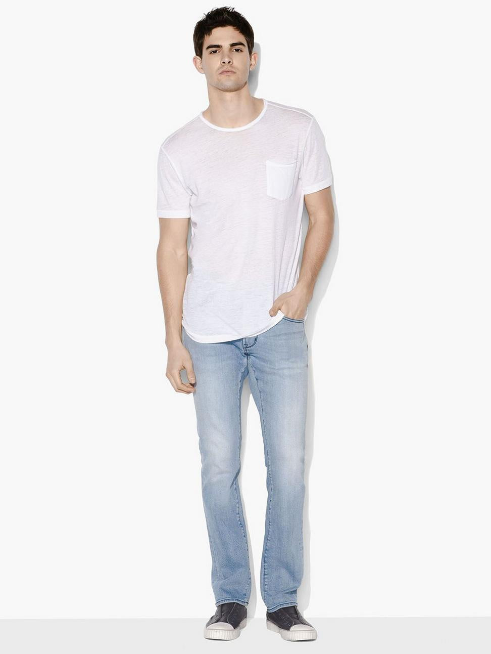 John Varvatos AMES S/S BURNOUT CREW WITH RAW EDGE White