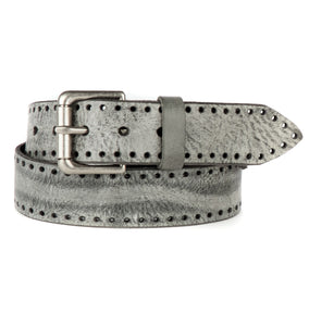 Brave Faraday Leather Belt with Hole Detail in Thundercloud