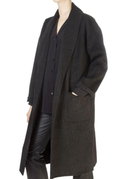 Eileen Fisher Shawl Collar Coat in Charcoal