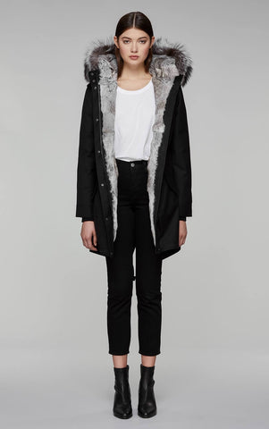 Mackage Rena-XR Twill Fur-Lined Parka in Black/Silver