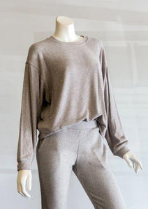Velvet Mira Cozy Lux Long Sleeve Top in Grey