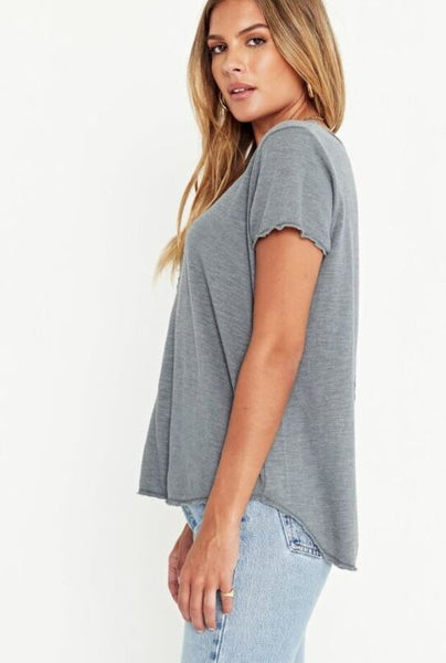 Project Social T Wearever V-Neck Short Sleeve Tee in Slate