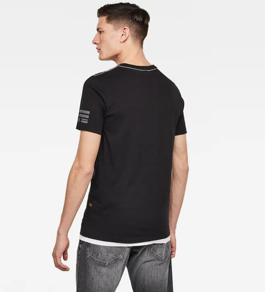 G-STAR Flag Text GR slim r t s\s - Dk Black