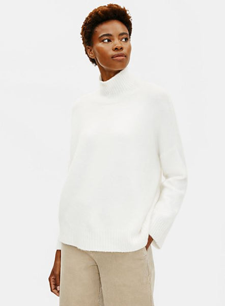 Eileen Fisher Turtleneck Box-Top in soft white