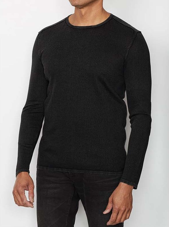 John Varvatos L/S Crew Neck in Acid Wash - Black