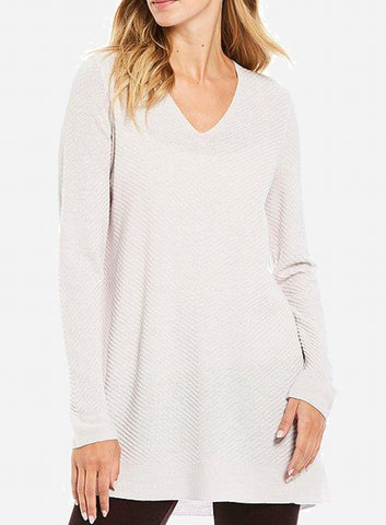Eileen Fisher Ballet Neck Tunic in Washable Wool Fine Crepe - Ceramic