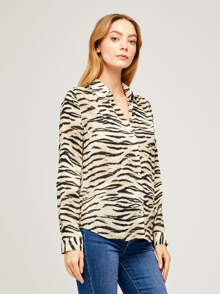 L'AGENCE Holly L/S Blouse in Coconut Husk