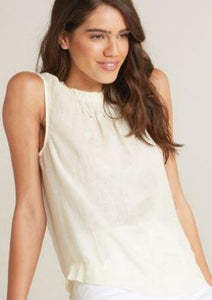 bella dahl tissue linen sleeveless smocked neck top