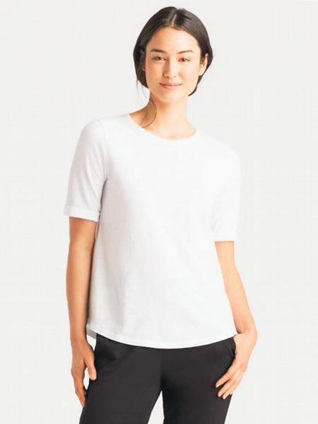 Eileen Fisher System Round Neck Elbow Top in Organic Cotton Slub