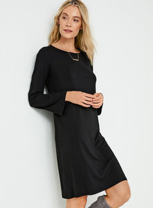 Eileen Fisher Round Neck Tencel Jersey Bracelet Sleeve Dress