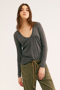 Free people Betty long sleeve tee in Black