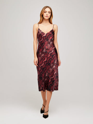 L'AGENCE Jodie V-Neck Slip Dress in Garnet/Blk