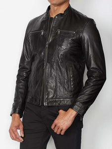 John Varvatos ZIP FRONT LEATHER DENIM-STYLE JACKET WITH BAND COLLAR - Black