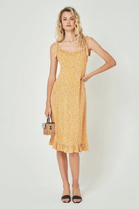 Auguste Dean Gia Strappy Print Dress in Yellow
