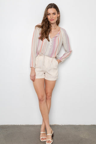 Rails Monty Tencel Gathered Waist Short In Oat