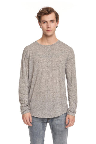 KUWALLA L/S Linen Scoop Tee - Mix Grey