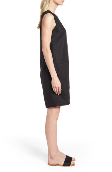 Eileen Fisher Organic Linen Short Jumpsuit - Black