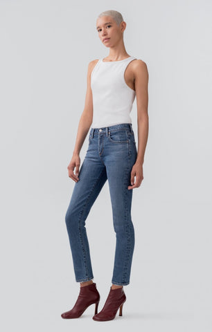 AGoldE Toni Mid Rise Straight Jean in Obscure