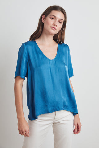 Velvet Tita Satin Viscose S/S U-Neck Top