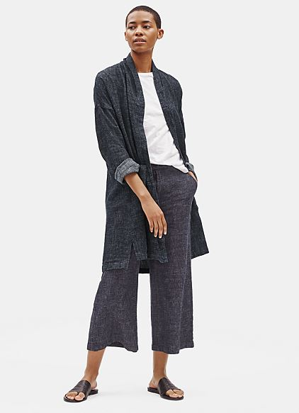 Eileen Fisher Tweedy Hemp Organic Cotton Kimono Coat