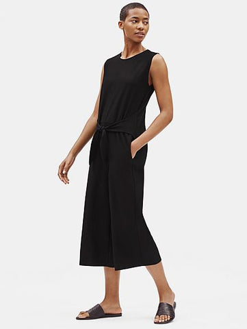 Eileen Fisher Washable Stretch Crepe Cap Slv Tiefront Jumpsuit
