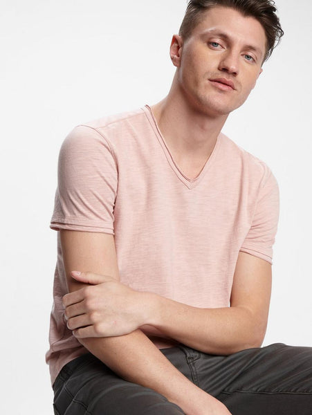 John Varvatos MILES S/S SLUB V-NECK Misty Rose