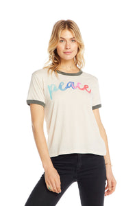 Chaser Peace Blocked Jersey Ringer Tee