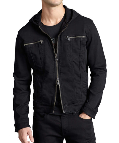John Varvatos Stretch Hooded Jean Jacket - Black