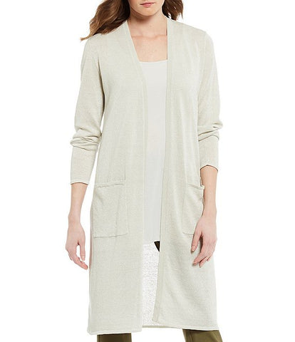 Eileen Fisher Organic Linen Crepe Sparkle Long Cardigan