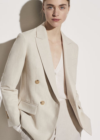 Vince Linen Cotton Double Breasted Blazer