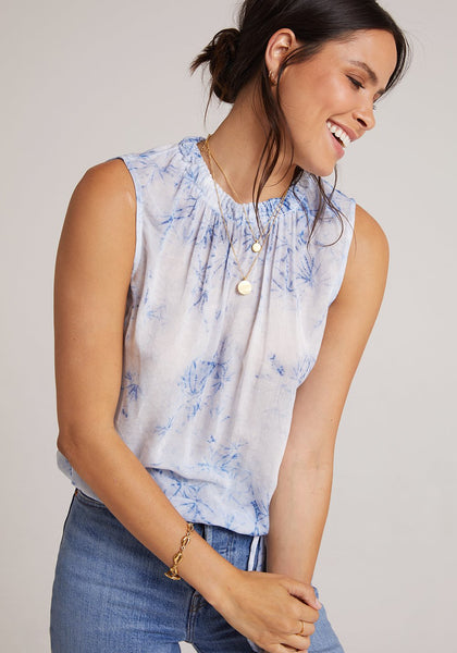 bella dahl blue shibori sleeveless shirred neck top
