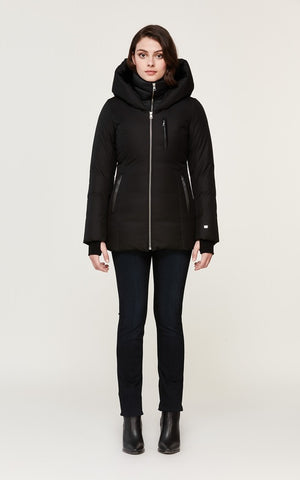Soia&Kyo Fannia Hooded Hip-Length Brushed Down Coat