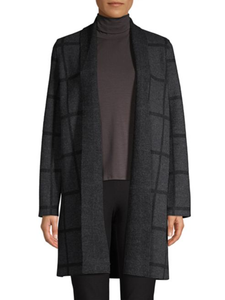 Eileen Fisher Wool Windowpane Shawl Collar Cardigan