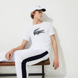 Lacoste SPORT 3D Print Crocodile Breathable Jersey T-shirt - White/Navy