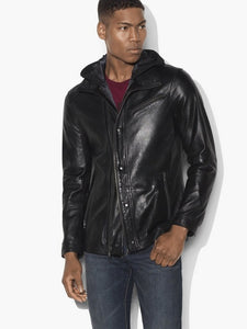 John Varvatos LEATHER HOODED PARKA WITH DOUBLE LAYER CLOSURE - Black