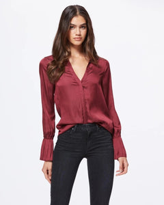 Paige Abriana Flared Cuff shirt in Burgundy