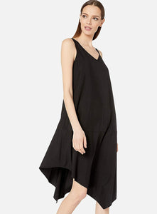 Eileen Fisher Sandwashed Tencel Asymetric Layering Dress - Black or Nori