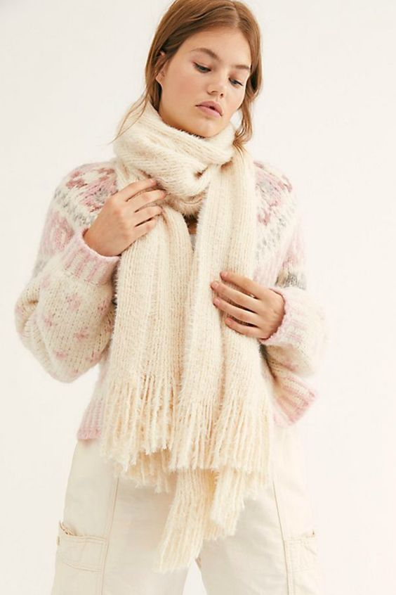 Free People Whisper Fringe Scarf in Ivory