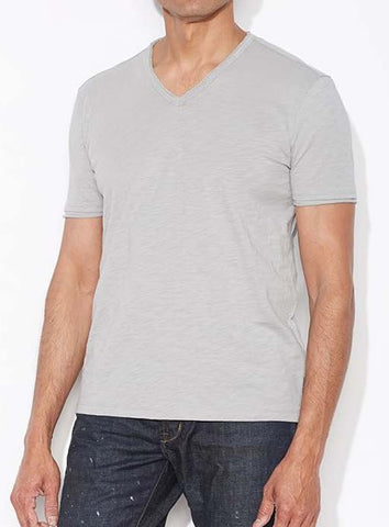 John Varvatos Raw Edge V Neck Tee - Light Grey