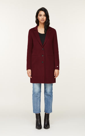 Soia&Kyo Ezme Long Wool Coat in Oxblood